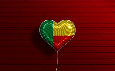 I Love Benin, 4k, realistic balloons, red wooden background, African countries, Benin flag heart, favorite countries, flag of Benin, balloon with flag, Benin flag, Burundi, Love Benin
