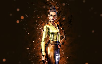 Gold Foil Jennifer Walters, 4k, brown neon lights, Fortnite Battle Royale, Fortnite characters, Gold Foil Jennifer Walters Skin, Fortnite, Gold Foil Jennifer Walters Fortnite