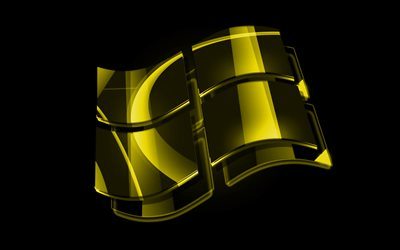 Windows yellow logo, 4k, OS, creative, black background, Windows, Windows 3D logo