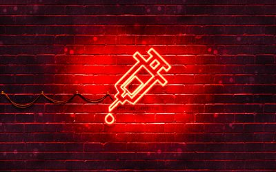 Vaccination red icon, 4k, red background, neon symbols, Vaccination, neon icons, Vaccination sign, medical signs, Vaccination icon, Vaccination neon icon, medical icons, Vaccination concepts