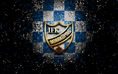 Norrkoping FC, glitter logo, Allsvenskan, blue white checkered background, soccer, swedish football club, Norrkoping logo, mosaic art, football, IFK Norrkoping