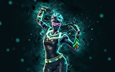 Nitelite, 4k, blue neon lights, Fortnite Battle Royale, Fortnite characters, Nitelite Skin, Fortnite, Nitelite Fortnite