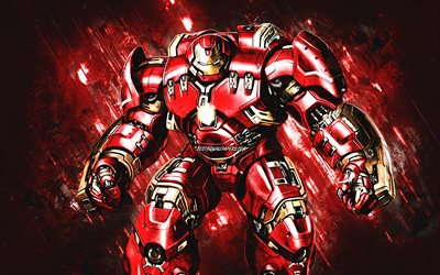 Hulkbuster, Iron Man armor, Superheroe, red stone background, creative art, Iron Man, Iron Man suit