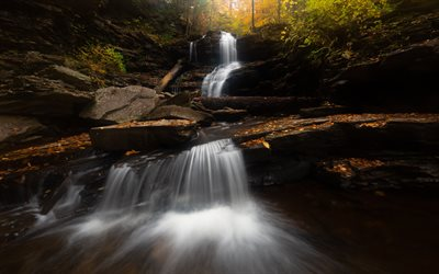 waterfall, autumn, mountain river, forest, trees, beautiful waterfall, water