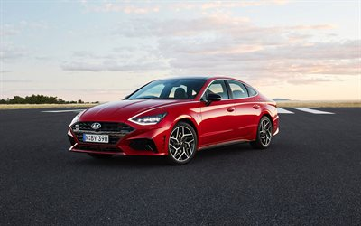 2021, Hyundai Sonata N Line, 4k, front view, exterior, red sedan, new red Sonata, Korean cars, Hyundai