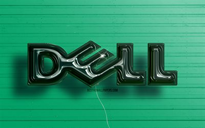 Dell 3D logo, 4K, dark green realistic balloons, Dell logo, green wooden backgrounds, Dell