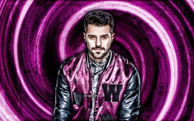 4k, DJ Alok, purple grunge background, brazilian DJs, music stars, vortex, Alok Achkar Peres Petrillo, Alok, creative, Alok 4K, Alok DJ