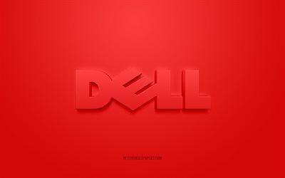 Dell logo, red background, Dell 3d logo, 3d art, Dell, brands logo, red 3d Dell logo