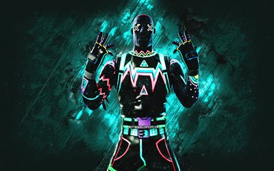 Fortnite Liteshow Skin, Fortnite, main characters, turquoise stone background, Liteshow, Fortnite skins, Liteshow Skin, Liteshow Fortnite, Fortnite characters