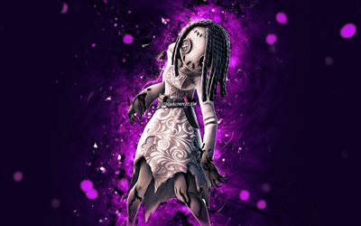 Willow, 4k, violet neon lights, Fortnite Battle Royale, Fortnite characters, Willow Skin, Fortnite, Willow Fortnite