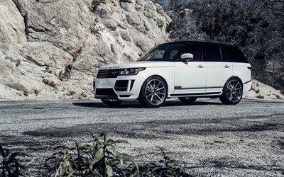 Land Rover, luxury cars, Range Rover Vogue, SUVs, white Range Rover