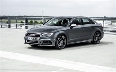 Audi S3, 2017 cars, sedans, gray s3, german cars, Audi