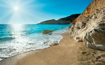 Greece, sea, coast, summer, rocks, bright sun