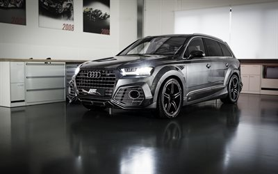 Audi Q7, 2016, Black Q7, ABT, Tuning, crossover, German cars, Audi