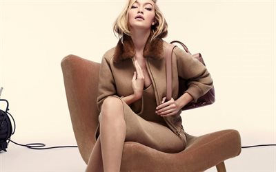 Gigi Hadid, American model, make-up, beautiful woman, brown dress