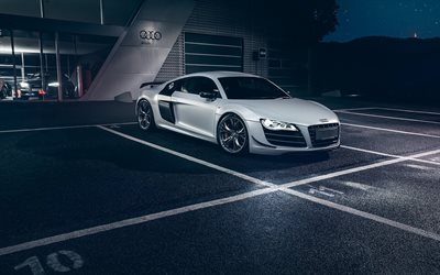 Audi R8, GT, V10, 2016, Tuning R8, white R8, sports car, Audi