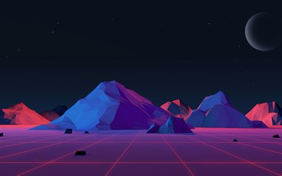 mountains, isometric landscape, nightscape, 3d landscapes, polygons