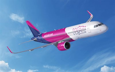 4k, Airbus A320neo, Wizzair, passenger plane, A320neo, civil aviation, Airbus