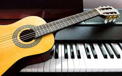 4k, piano, guitarra, instrumentos musicales, close-up