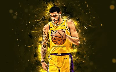 Lonzo Bola, de color amarillo uniforme, de la NBA, Los Lakers de Los Angeles, baloncesto, Lonzo Anderson Bola, luces de neón, las estrellas del baloncesto, LA Lakers, creativo, estados UNIDOS