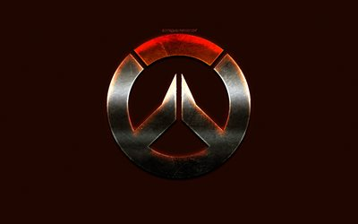 Overwatch, emblem, logo, creative art, dark orange background, Overwatch metallic logo, popular games