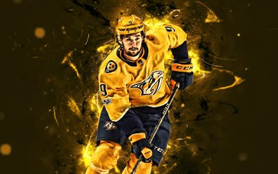 Filip Forsberg, yellow uniform, Nashville Predators, NHL, hockey stars, Carl Filip Anton Forsberg, hockey, neon lights, hockey players, USA, Forsberg Predators