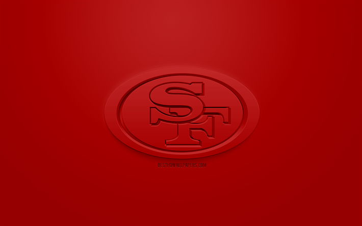 49ers de San Francisco, de l'Amérique du club de football, créatrice du logo 3D, fond rouge, 3d, emblème de la NFL, San Francisco, Californie, etats-unis, la Ligue Nationale de Football, art 3d, le football Américain, le logo 3d