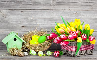 Easter eggs, yellow tulips, spring flowers, pink tulips, Easter, eggs in the nest, Easter background