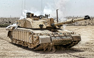 Challenger 2, 4k, desert, tanks, British MBT, British Army, sand camouflage, armored vehicles