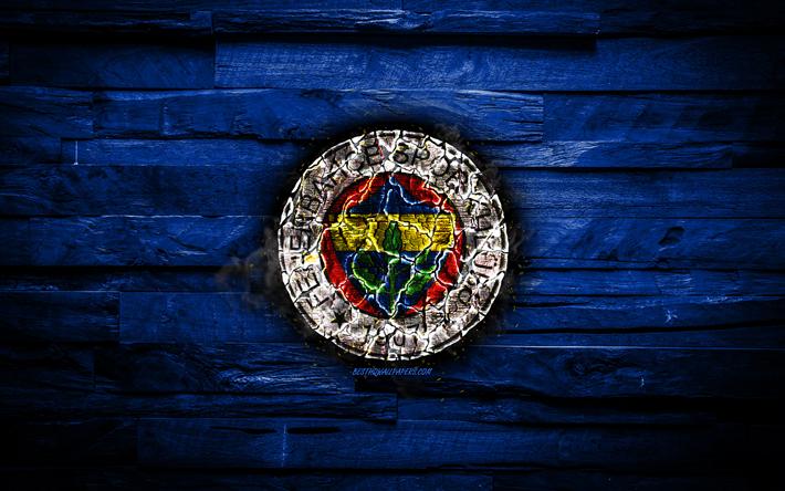 Indir Duvar Kağıdı Fenerbahçe Sk Yanan Logo Süper Lig Mavi Ahşap