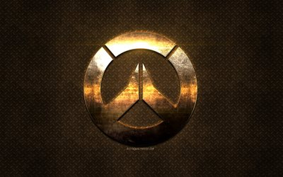 Overwatch, golden logo, metallic art, emblem, creative art, popular games, grunge art