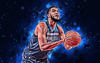4k, karl-anthony towns, close-up, nba, basketball-stars, minnesota timberwolves, karl-anthony towns jr, neon-lichter, basketball, kreativ, usa