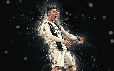4k, Cristiano Ronaldo, Juve, portuguese footballers, Juventus FC, close-up, Italy, CR7 Juve, Bianconeri, football stars, soccer, Serie A, neon lights, CR7