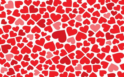 red hearts background, abstract art, hearts patterns, love concepts, hearts textures, background with hearts