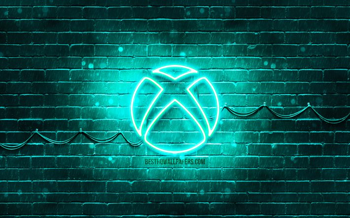 Download Wallpapers Xbox Turquoise Logo 4k Turquoise Brickwall Xbox Logo Brands Xbox Neon Logo Xbox For Desktop Free Pictures For Desktop Free