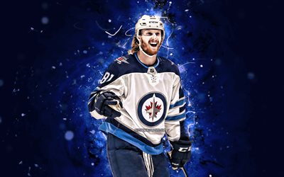 Kyle Connor, 4k, NHL, Winnipeg Jets, estrellas del hockey, hockey, luces azules de neón, los jugadores de hockey, Kyle Connor Winnipeg Jets, Kyle Connor 4K