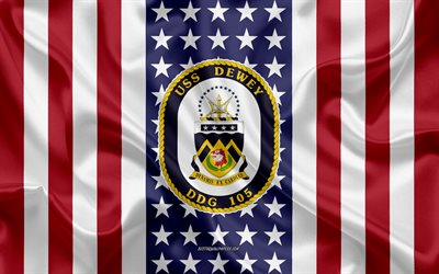USS Dewey Emblem, DDG-105, American Flag, US Navy, USA, USS Dewey Badge, US warship, Emblem of the USS Dewey