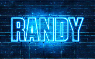 Randy, 4k, wallpapers with names, horizontal text, Randy name, blue neon lights, picture with Randy name