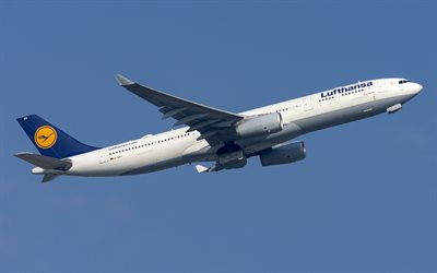 Airbus A330-300, passenger plane, airliner, air travel, modern airplanes, Lufthansa, Airbus