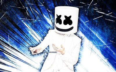 DJ Marshmello, 4k, blue abstract rays, superstars, Christopher Comstock, dancing Marshmello, american DJ, music stars, creative, DJs, Marshmello