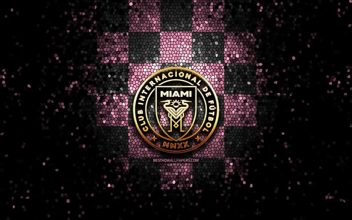 Inter Miami FC, glitter logo, MLS, gray pink checkered background, USA, american soccer team, Inter Miami, Major League Soccer, Inter Miami logo, mosaic art, soccer, football, America