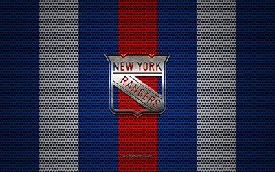 New York Rangers logo, American hockey club, metal emblem, red-blue metal mesh background, New York Rangers, NHL, New York, USA, hockey