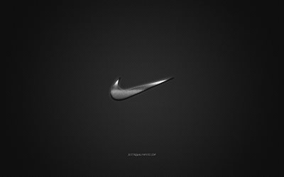 Nike logo, metal emblem, apparel brand, black carbon texture, global apparel brands, Nike, fashion concept, Nike emblem, Just do it