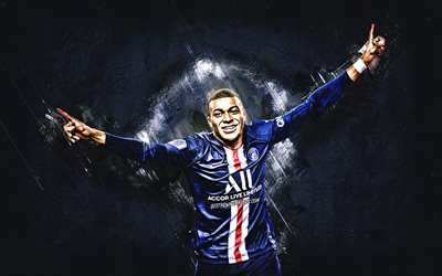 Kylian Mbappe, PSG, football star, french soccer player, portrait, Paris Saint-Germain, Champions League, Ligue 1, football, world football stars, blue stone background