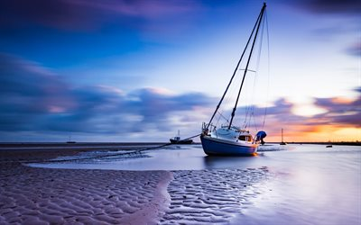 yachts, evening, sunset, yachts in the sand, sea, fishing boats