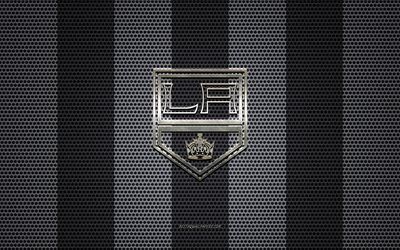 Los Angeles Kings logotipo, Americana de hóquei clube, emblema de metal, preto-e-branco de malha de metal de fundo, Los Angeles Kings, NHL, Los Angeles, Califórnia, EUA, hóquei