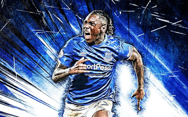 Download Wallpapers Moise Kean 4k Grunge Art Everton Fc Italian Footballers Soccer Moise Bioty Kean Premier League Football Moise Kean 4k Blue Abstract Rays Moise Kean Everton For Desktop Free Pictures For
