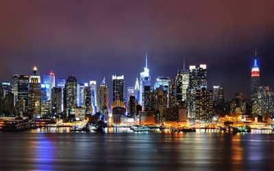 ABD, New York, panorama, gökdelenler, nightscapes, metropolis, Amerika