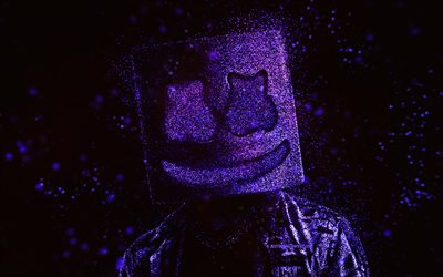 Marshmello, purple glitter art, black background, American DJ, Marshmello art, Christopher Comstock, DJ Marshmello