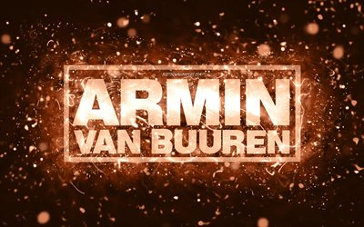 Armin van Buuren brown logo, 4k, dutch DJs, brown neon lights, creative, brown abstract background, Armin van Buuren logo, music stars, Armin van Buuren
